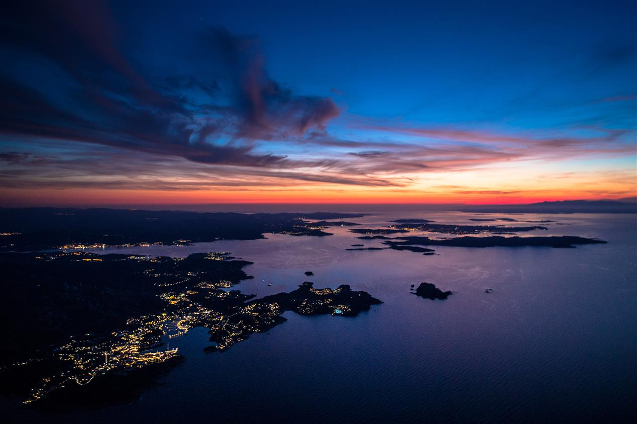Italy photographed for the first time from the helicopter one hour after the sunset or one hour before the sunrise